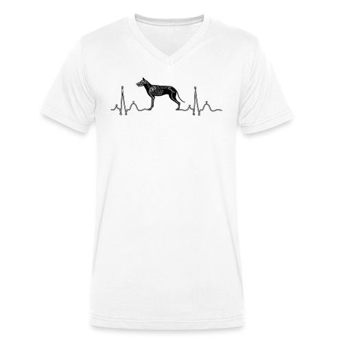 ECG met hond - Mannen bio T-shirt met V-hals van Stanley & Stella