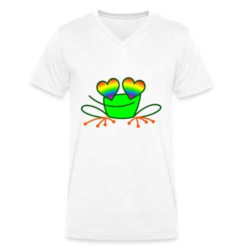 Pride Frog in Love - Men's Organic V-Neck T-Shirt by Stanley & Stella