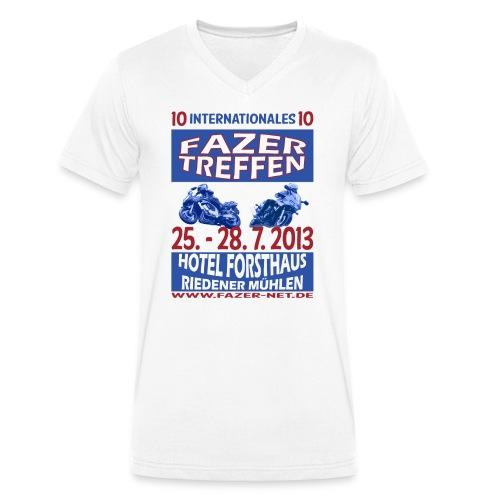ift10logo blau korr - Männer Bio-T-Shirt mit V-Ausschnitt von Stanley & Stella