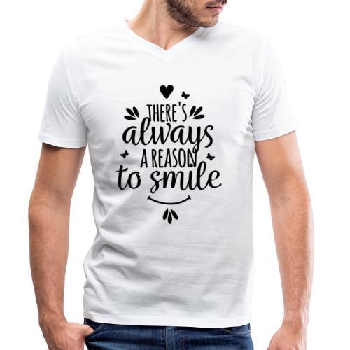 Siempre hay una razón para sonreír - Camiseta ecológica hombre con cuello de pico de Stanley & Stella