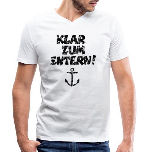 Klar zum Entern Segel Segeln (Vintage/Schwarz) - Männer Bio-T-Shirt mit V-Ausschnitt von Stanley & Stella