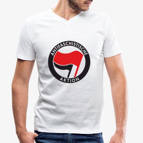 Atnifaschistische Action - Antifa Logo - Men's Organic V-Neck T-Shirt by Stanley & Stella