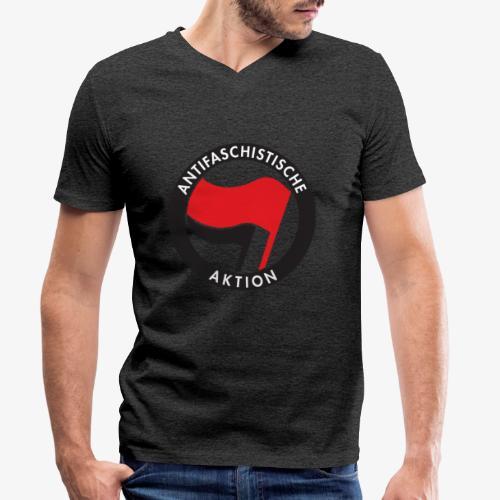 Atnifaschistische Action - Antifa Logo - Men's Organic V-Neck T-Shirt by Stanley & Stella