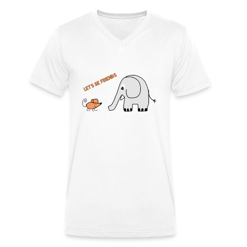 Elephant and mouse, friends - Men's Organic V-Neck T-Shirt by Stanley & Stella