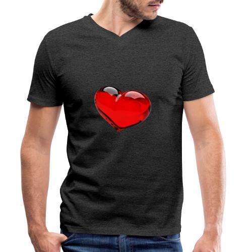 serce 3D - Ekologiczna koszulka męska z dekoltem w serek Stanley & Stella