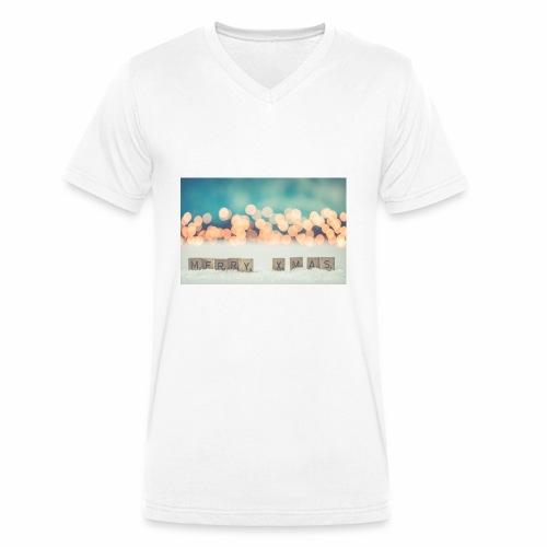 Merry Christmas - Økologisk Stanley & Stella T-shirt med V-udskæring til herrer