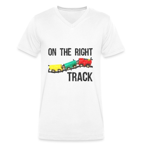 On The Right Track Positive Design Train on Track. - Men's Organic V-Neck T-Shirt by Stanley & Stella