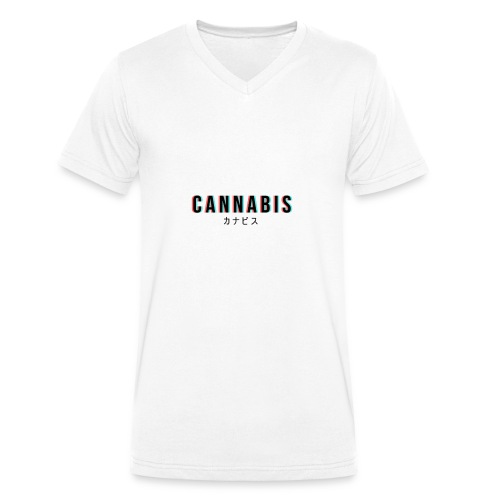 CANNABIS - Ekologiczna koszulka męska z dekoltem w serek Stanley & Stella