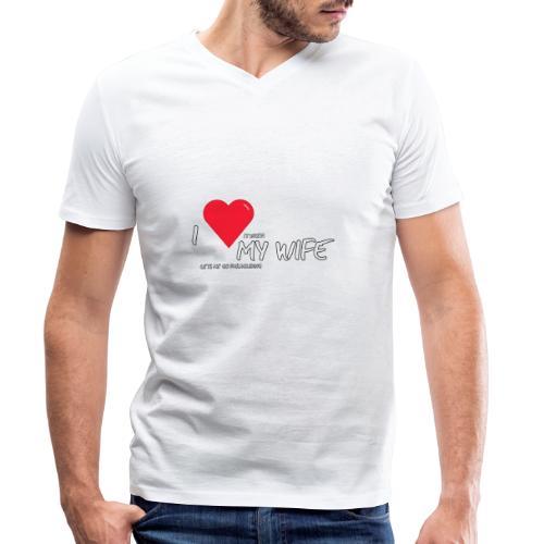 Love my wife heart - Mannen bio T-shirt met V-hals van Stanley & Stella