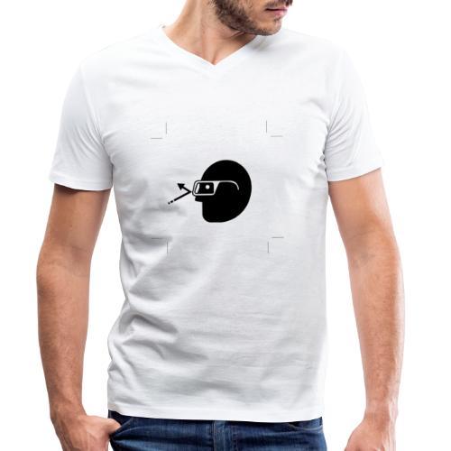 Kopf mit Brille - Männer Bio-T-Shirt mit V-Ausschnitt von Stanley & Stella