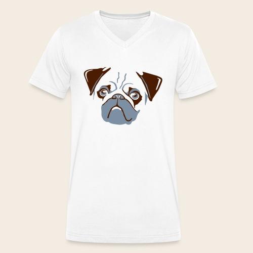 otiz mops kopf 2farbig - Männer Bio-T-Shirt mit V-Ausschnitt von Stanley & Stella