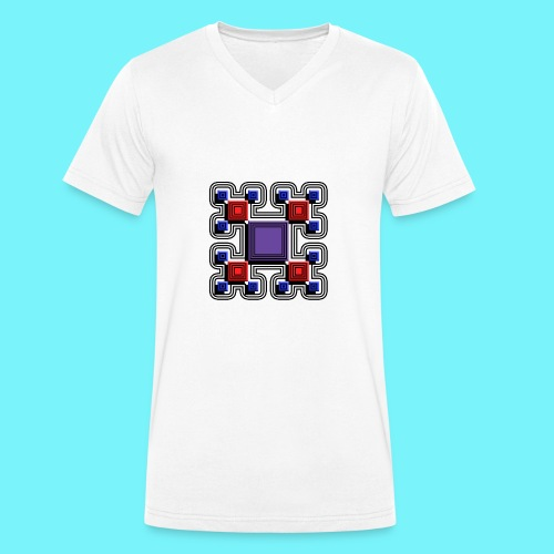 Blocks with lines and solid shadows - Men's Organic V-Neck T-Shirt by Stanley & Stella