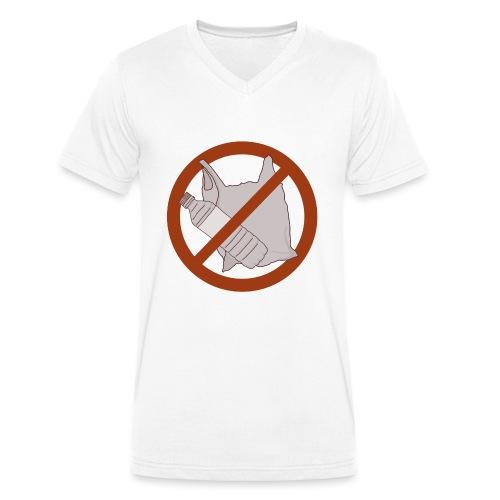 No Plastic Warnschild Umweltschutz - Männer Bio-T-Shirt mit V-Ausschnitt von Stanley & Stella