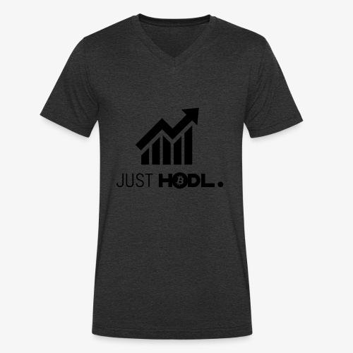 HODL-btc-just-black - Men's Organic V-Neck T-Shirt by Stanley & Stella