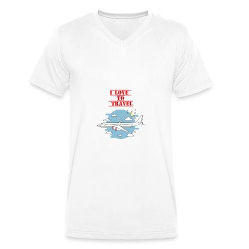 I Love To Travel - T-shirt ecologica da uomo con scollo a V di Stanley & Stella