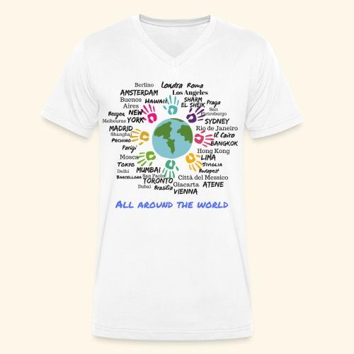 All around the world uomo - T-shirt ecologica da uomo con scollo a V di Stanley & Stella