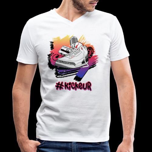 #Kickeur Noir - T-shirt bio col V Stanley & Stella Homme