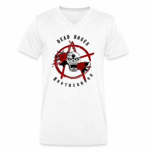 Dead Roses Anarchy Skull Black - Men's Organic V-Neck T-Shirt by Stanley & Stella