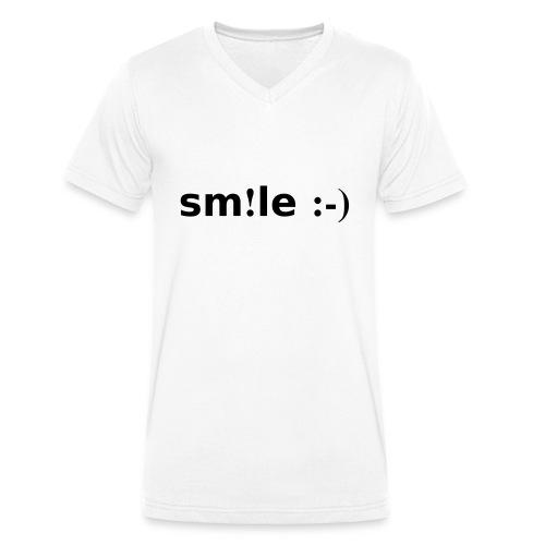 smile - sorridi - T-shirt ecologica da uomo con scollo a V di Stanley & Stella