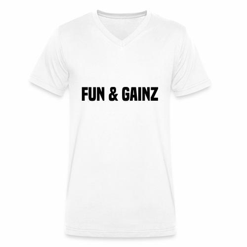 fun and gainz - Men's Organic V-Neck T-Shirt by Stanley & Stella