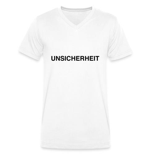 UNSICHERHEIT t-shirt (gelb auf schwarz) - Männer Bio-T-Shirt mit V-Ausschnitt von Stanley & Stella