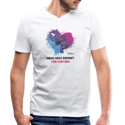Mein Herz brennt für Fakten! - Männer Bio-T-Shirt mit V-Ausschnitt von Stanley & Stella