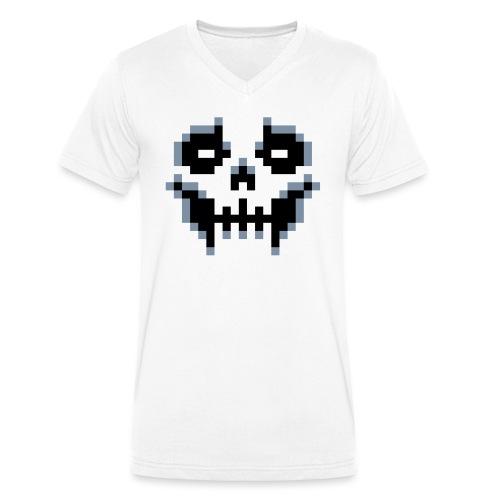 pixel-skull - Men's Organic V-Neck T-Shirt by Stanley & Stella