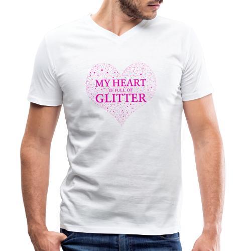 Herz Glitzer - Männer Bio-T-Shirt mit V-Ausschnitt von Stanley & Stella