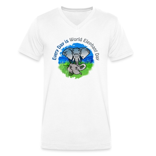 Every Day Is World Elephant Day - Männer Bio-T-Shirt mit V-Ausschnitt von Stanley & Stella