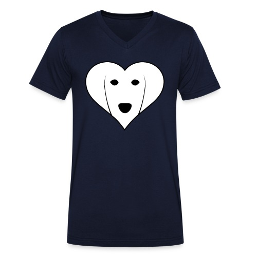 Saluki Heart - T-shirt ecologica da uomo con scollo a V di Stanley & Stella