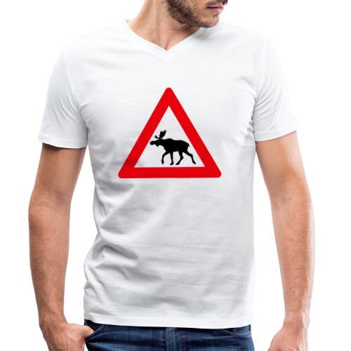 Elg-skilt - Økologisk T-skjorte med V-hals for menn fra Stanley & Stella