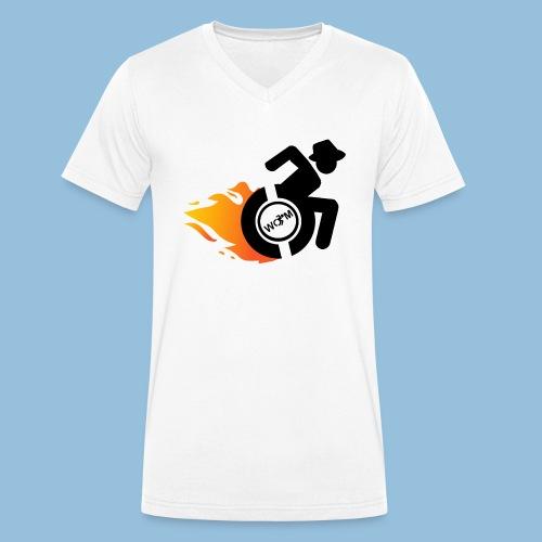 Roller met vlammen 014 - Mannen bio T-shirt met V-hals van Stanley & Stella