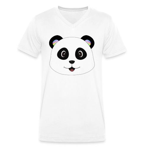 panda rainbow - Camiseta ecológica hombre con cuello de pico de Stanley & Stella