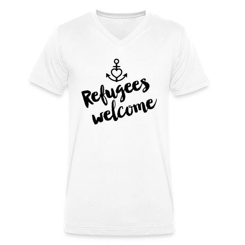 Refugees Welcome - Männer Bio-T-Shirt mit V-Ausschnitt von Stanley & Stella