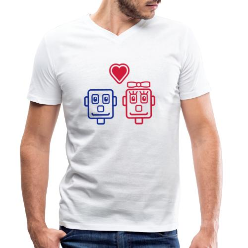 Motif Robots Amoureux - T-shirt bio col V Stanley & Stella Homme