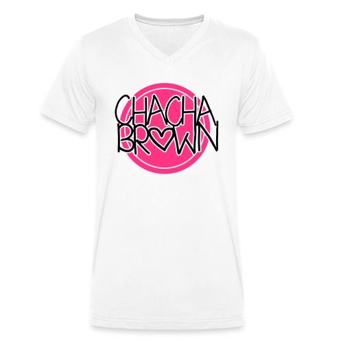 Chach Brown Big Logo - Mannen bio T-shirt met V-hals van Stanley & Stella