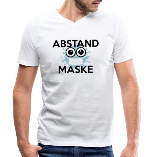 Mit Abstand und Maske gegen CORONA Virus - schwarz - Männer Bio-T-Shirt mit V-Ausschnitt von Stanley & Stella