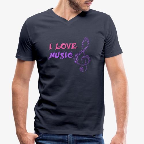 Love Music - Camiseta ecológica hombre con cuello de pico de Stanley & Stella
