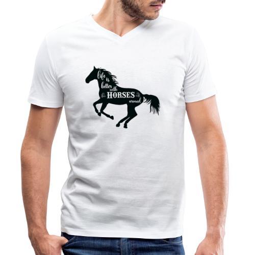 Life Is Better With Horses Around - Ekologisk T-shirt med V-ringning herr från Stanley & Stella
