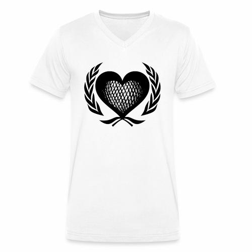 Herz Kranz Gitter Netz Logo Emblem Geschenkidee - Männer Bio-T-Shirt mit V-Ausschnitt von Stanley & Stella