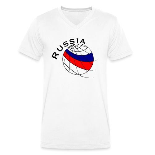 Russland Fußballmotiv - Camiseta ecológica hombre con cuello de pico de Stanley & Stella