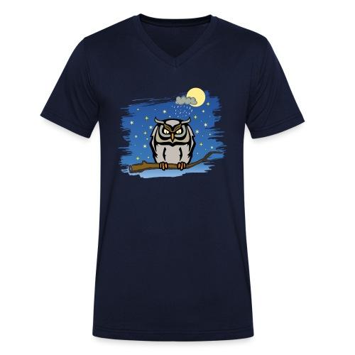 Eule Uhu Nachtschwärmer Vollmond Regenwolke Sterne - Männer Bio-T-Shirt mit V-Ausschnitt von Stanley & Stella