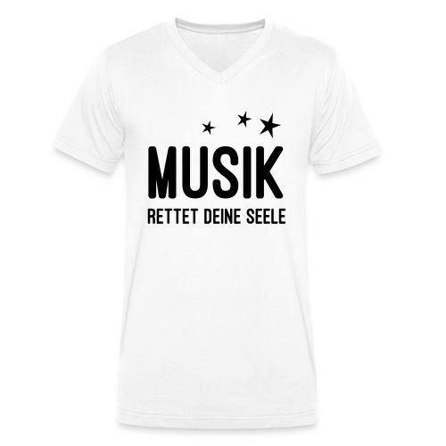 Musik rettet Deine Seele - Männer Bio-T-Shirt mit V-Ausschnitt von Stanley & Stella