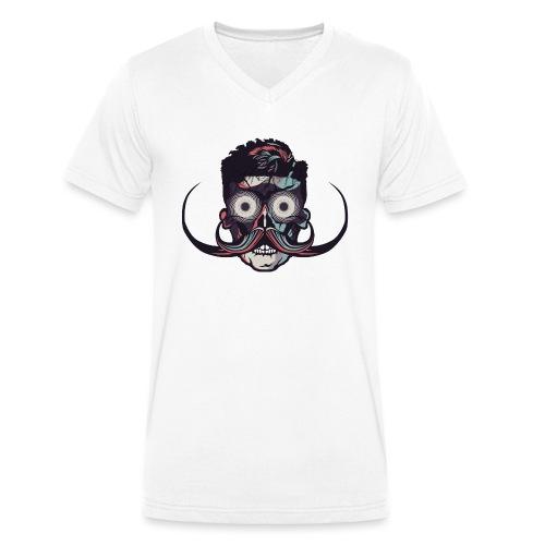 hipster tete de mort crane barbu skull moustache b - T-shirt bio col V Stanley & Stella Homme