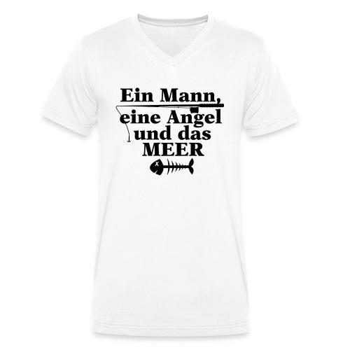 ein mann eine angel und das meer - Männer Bio-T-Shirt mit V-Ausschnitt von Stanley & Stella