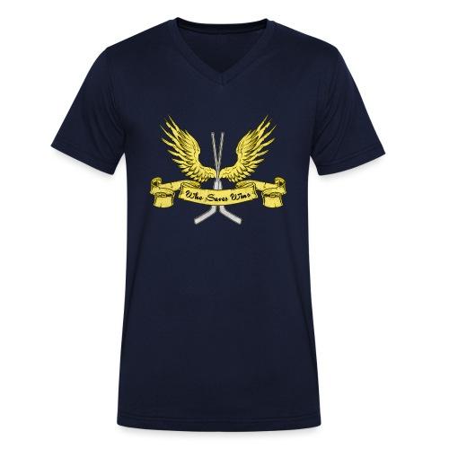 Who Saves Wins, Hockey Goalie - Men's Organic V-Neck T-Shirt by Stanley & Stella