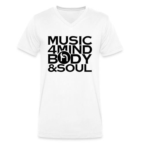 Music 4 Mind, Body & Soul Black - Men's Organic V-Neck T-Shirt by Stanley & Stella