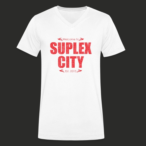 Suplex City Mens T-Shirt - Men's Organic V-Neck T-Shirt by Stanley & Stella