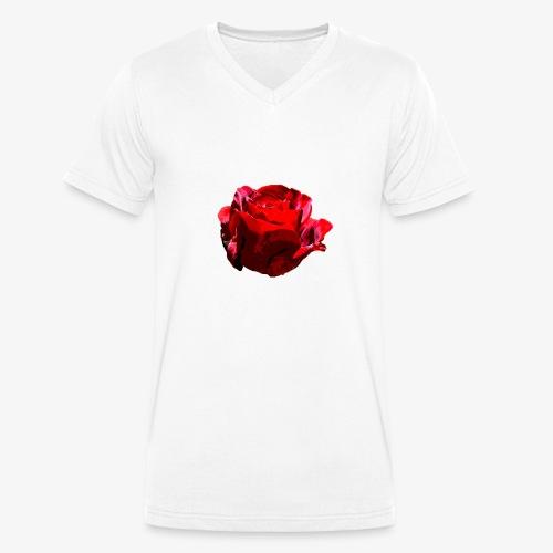 Red Rose - Männer Bio-T-Shirt mit V-Ausschnitt von Stanley & Stella