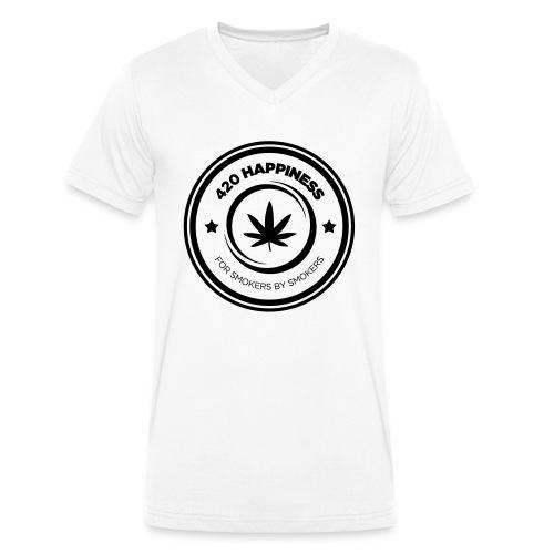 420_Happiness_logo - Økologisk Stanley & Stella T-shirt med V-udskæring til herrer